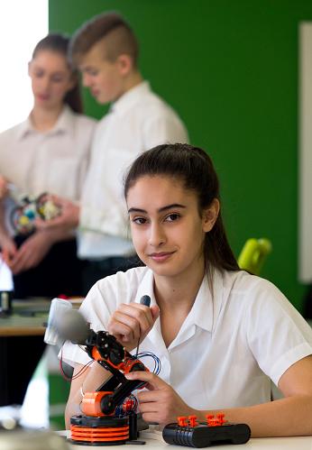 Girl doing robotics
